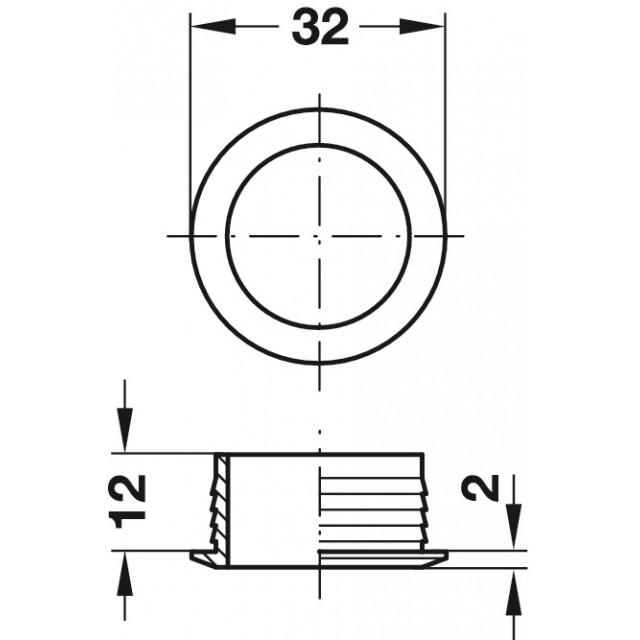 ROSETTE D.26 PLASTIC SATINATED NICKEL