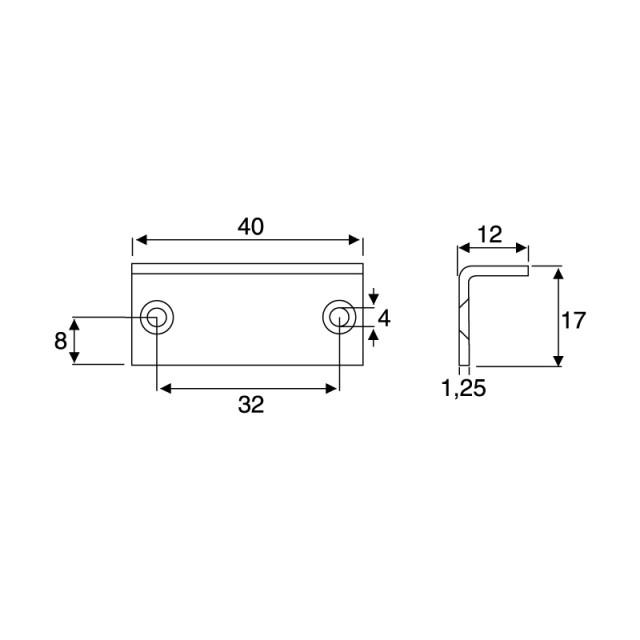 ANGLED STRIKING PLATE 40x17x12mm