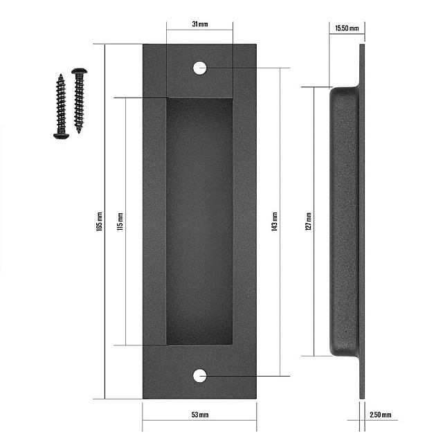 BLACK BARN DOOR FLUSH PULL HANDLE