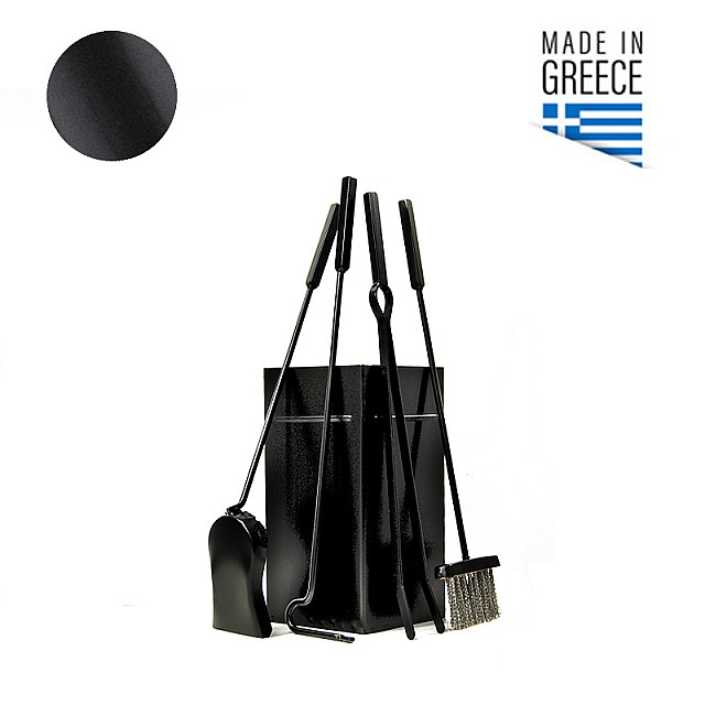 SQUARE BUCKET FIREPLACE TOOLS BLACK