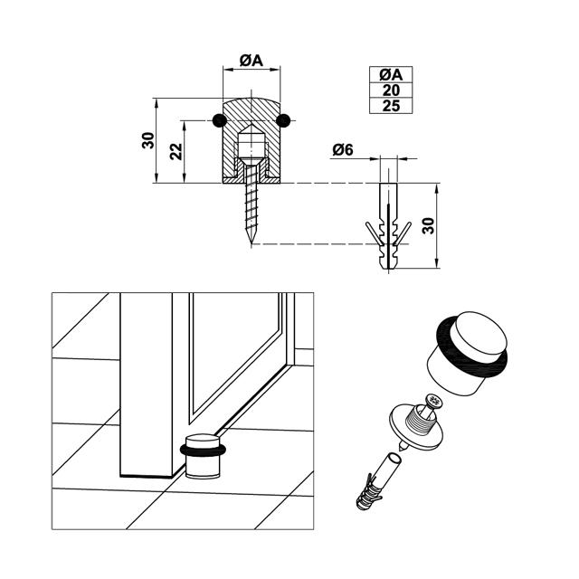 INOX DOOR RETAINER WITH RUBBER LARGE
