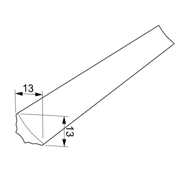 WORKTOP PROFILE WALL END 13x13 / INOX