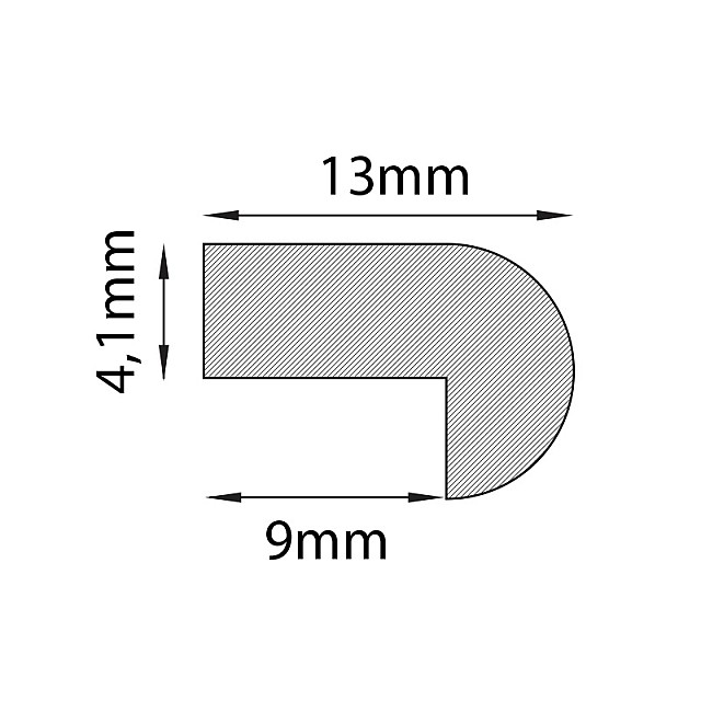 GREY ADHESIVE PLASTIC BACK PROFILE 9mm