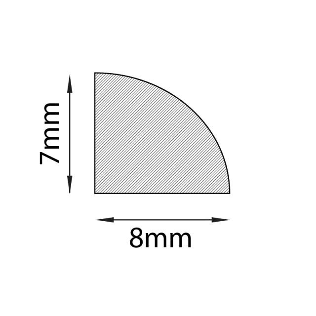 GREY ADHESIVE PLASTIC BACK PROFILE 7mm x 8mm