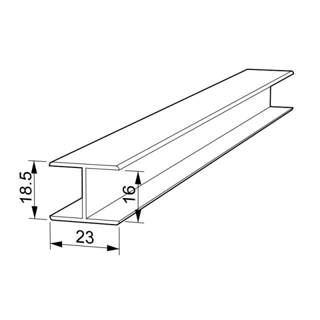 ALUMINUM H PROFILE CHANNEL 16x23mm