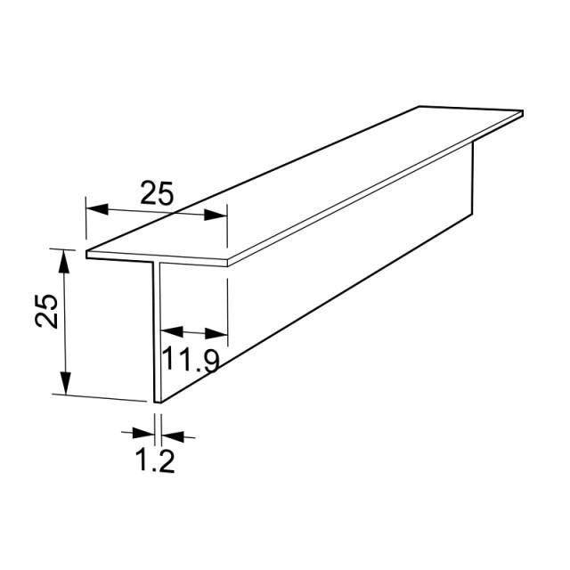 T-SHAPE ALUMINUM PROFILE 25x25 ANODISED