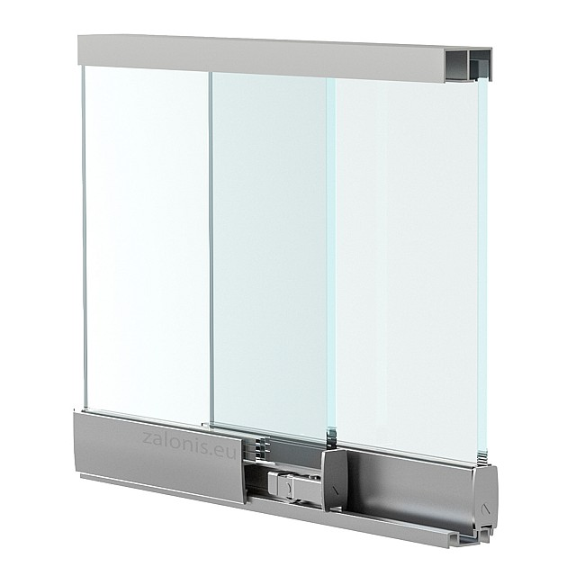 FRAMELESS SLIDING GLASSES RAIL - FLAT WHEEL