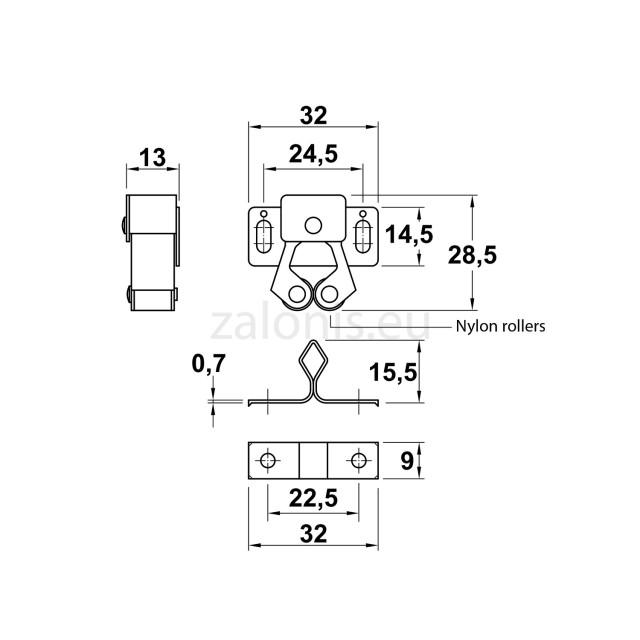 CLOSET ROLLER CATCH / IRIDIUM
