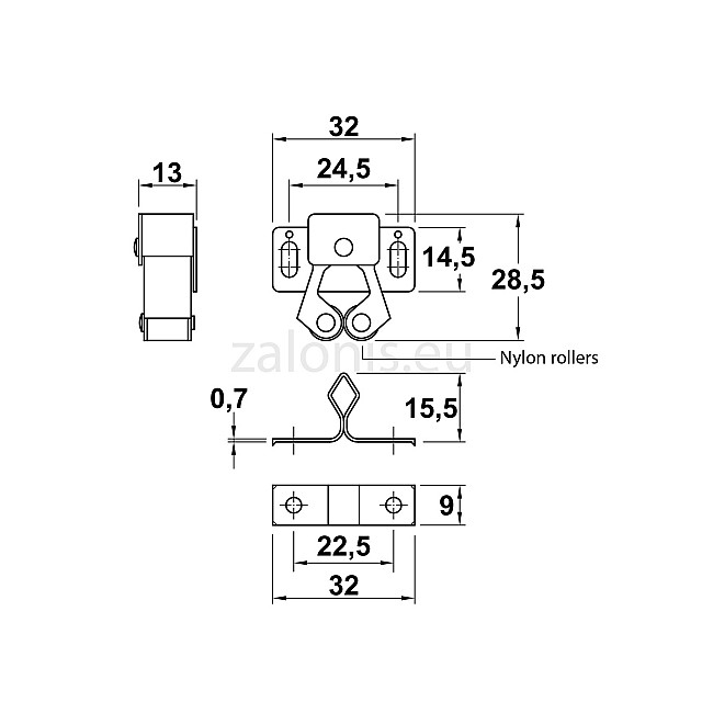 CLOSET ROLLER CATCH / BRONZE
