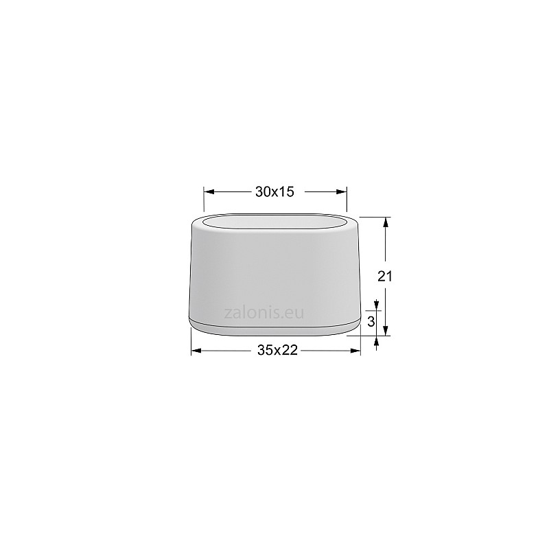 OVAL EXTERNAL LEG CAP PVC / 30x15 / WHITE