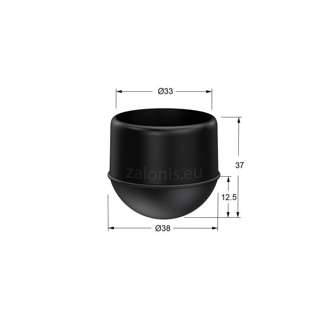 DOME SHAPE EXTERNAL LEG CAP PVC / D.33 / BLACK