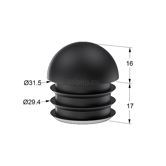 ROUND DOME-SHAPE END TUBE INSERT EXT D.32 / INT D.28 - D.29