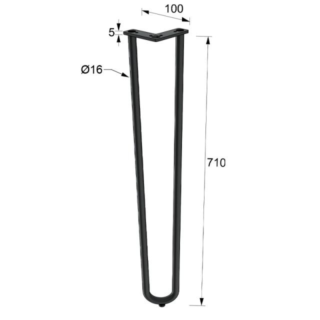 2 ROD HAIRPIN LEG H.71cm BLACK