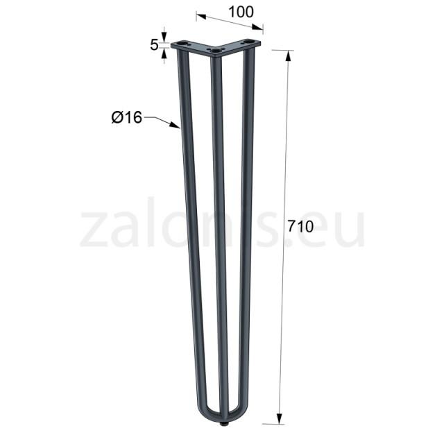 3 ROD HAIRPIN LEG H.71cm BLACK