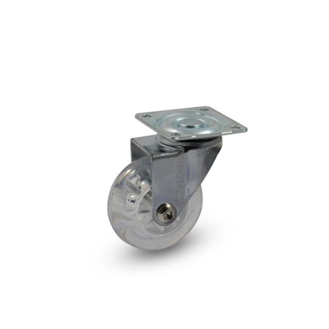 TRANSPARENT DECORATIVE CASTER WHEEL 305 D.50 / H.65 / 30KG