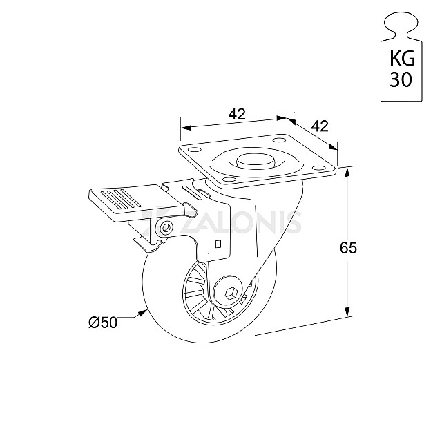 TRANSPARENT DECORATIVE CASTER WHEEL WITH BRAKE 305 D.50 / H.65 / 30KG