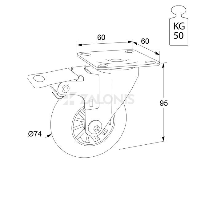 TRANSPARENT DECORATIVE CASTER WHEEL WITH BRAKE 305 D.74 / H.95 / 50KG