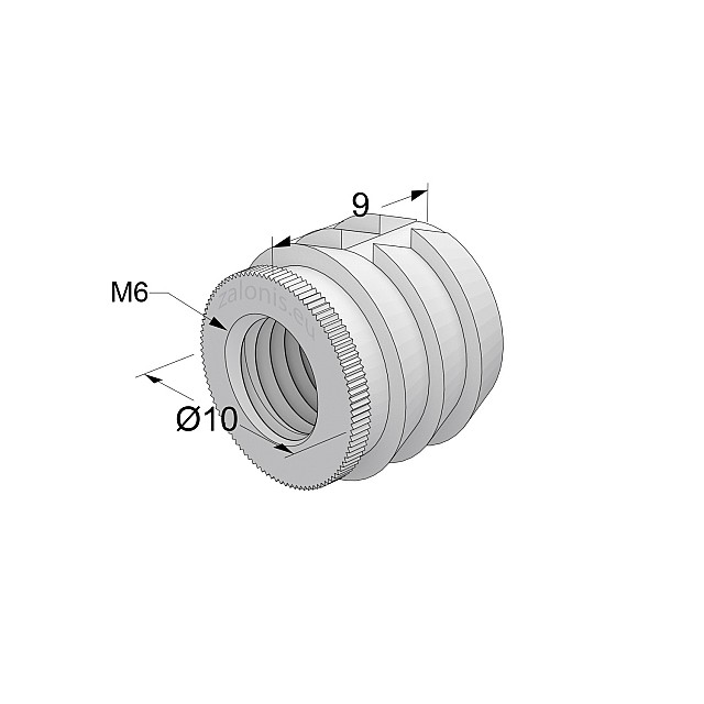 GLUE-IN SLEEVE / M6 THREAD / D.10mm x L.9mm HOLE