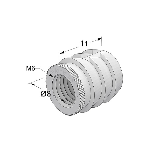 GLUE-IN SLEEVE / M6 THREAD / D.8mm x L.11mm HOLE