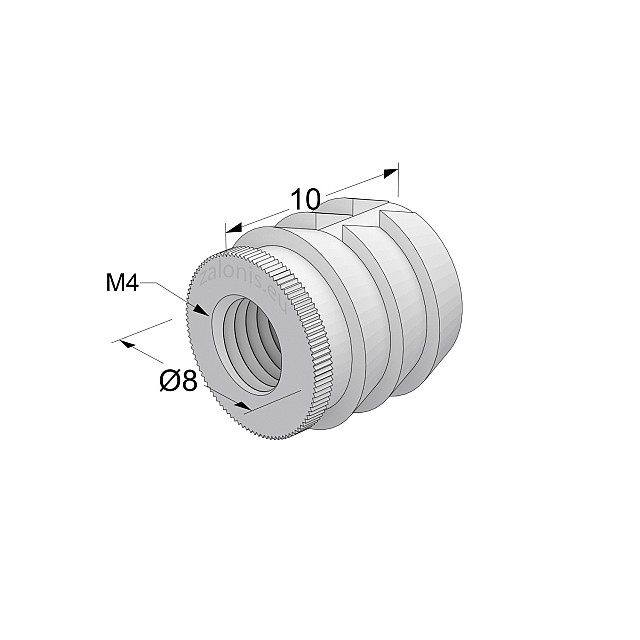 GLUE-IN SLEEVE / M4 THREAD / D.8mm x L.10mm HOLE