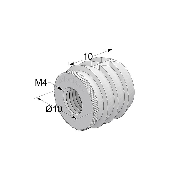 GLUE-IN SLEEVE / M4 THREAD / D.10mm x L.10mm HOLE