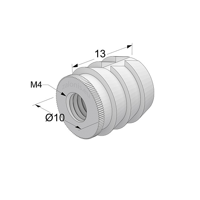 GLUE-IN SLEEVE / M4 THREAD / D.8mm x L.13mm HOLE