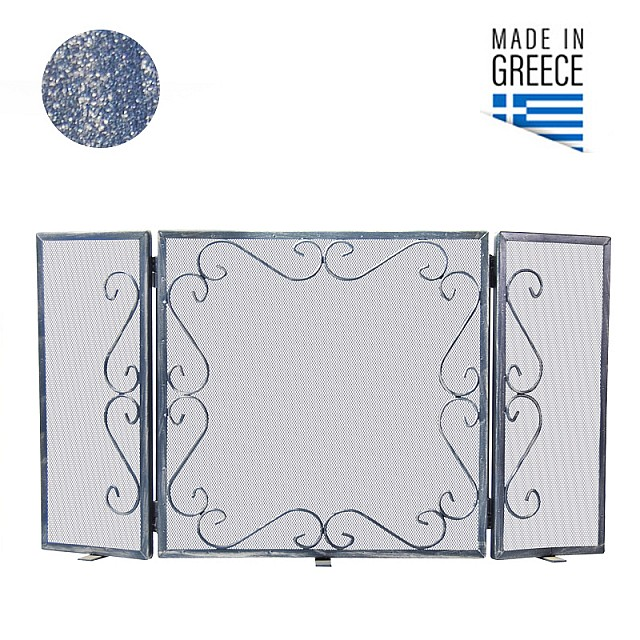 FIREPLACE COVER BELLE METAL 600 / PATINA BLUE-SILVER