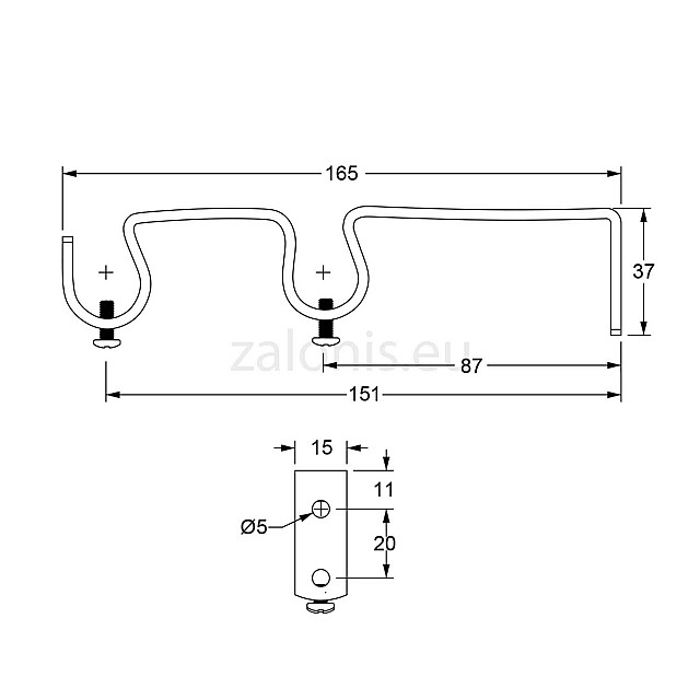 DOUBLE CURTAIL ROD SUPPORT / BLACK-COPPER / FOR D.18