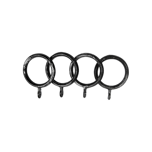 STEEL CURTAIL ROD RING / BLACK-SILVER / FOR D.18