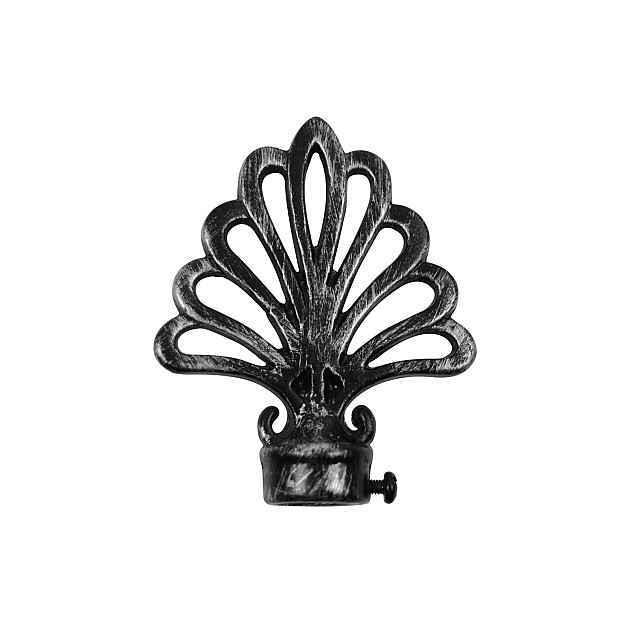 PEACOCK CURTAIL ROD END / BLACK-SILVER / FOR D.18