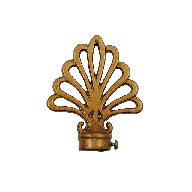 PEACOCK CURTAIL ROD END / GOLD-ANTIQUE / FOR D.18
