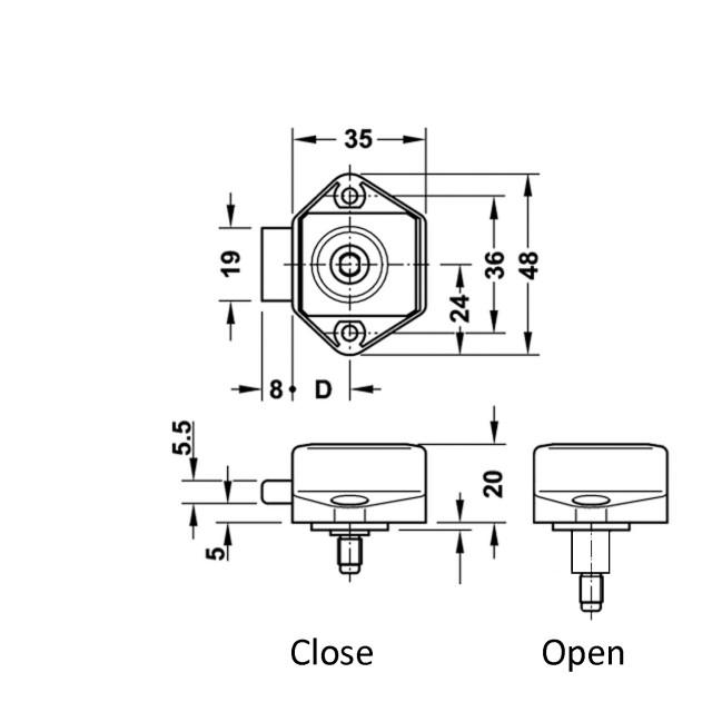 PUSH BUTTON CATCH LOCK 15mm / NIKEL MAT