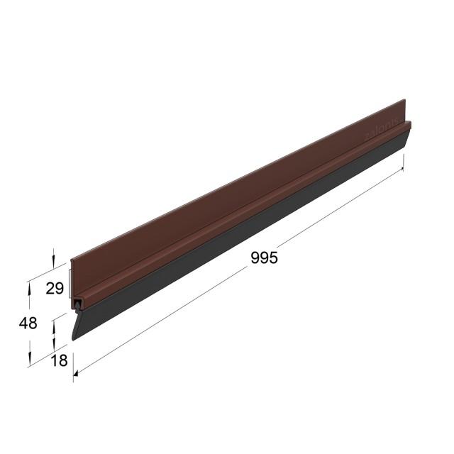 ADHESIVE EXTERNAL DOOR SWEEP PLASTIC PANEL WITH RUBBER / BROWN