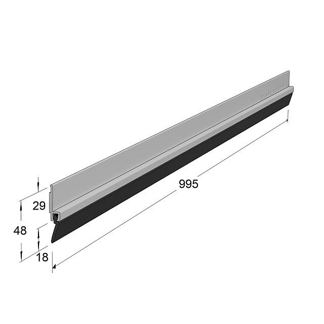ADHESIVE EXTERNAL DOOR SWEEP PLASTIC PANEL WITH RUBBER / WHITE