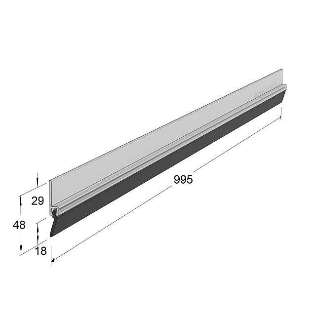 ADHESIVE EXTERNAL DOOR SWEEP PLASTIC PANEL WITH RUBBER / TRANSPARENT