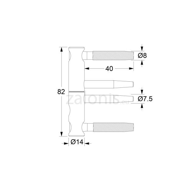 PIPE DOOR HINGE / H.82-D.14 / IRIDIUM