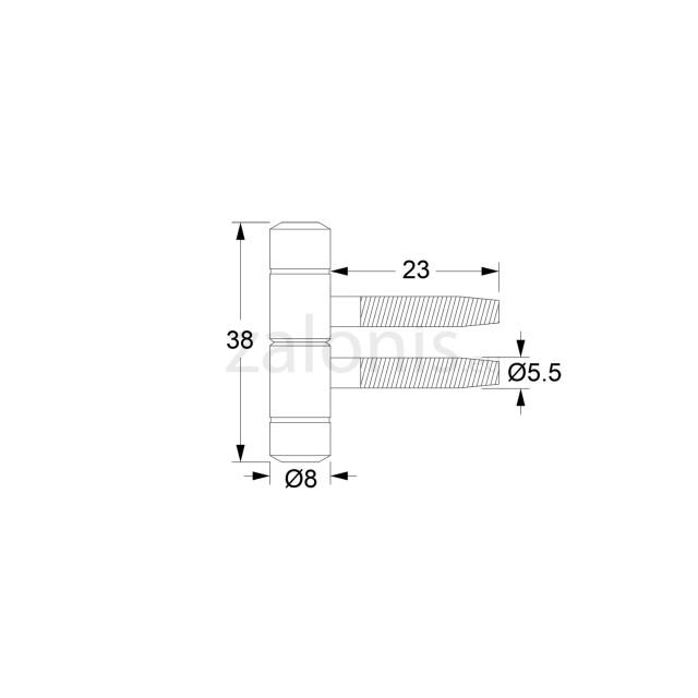 PIPE DOOR HINGE / H.38-D.8 / OXIDE