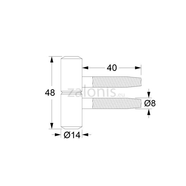 PIPE DOOR HINGE / H.48-D.14 / OXIDE