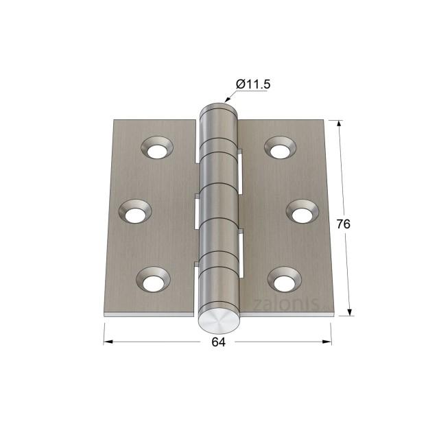 BALL BEARING FLAT HINGE / INOX / 7.6x6.4cm