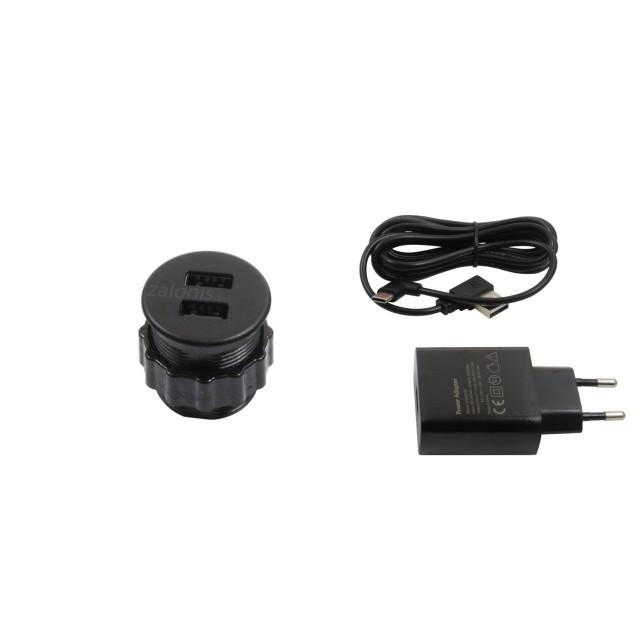 BUILT-IN USB CHARGING HUB D.30 / BLACK / 2 USB PORTS