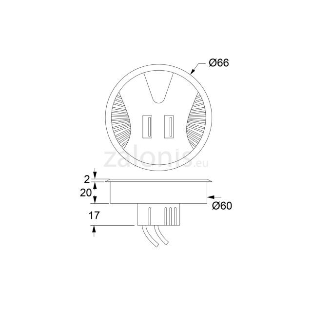 DESK GROMMET D.60 / BLACK / 2 USB CHARGING PORTS