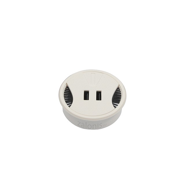 DESK GROMMET D.60 / WHITE / 2 USB CHARGING PORTS