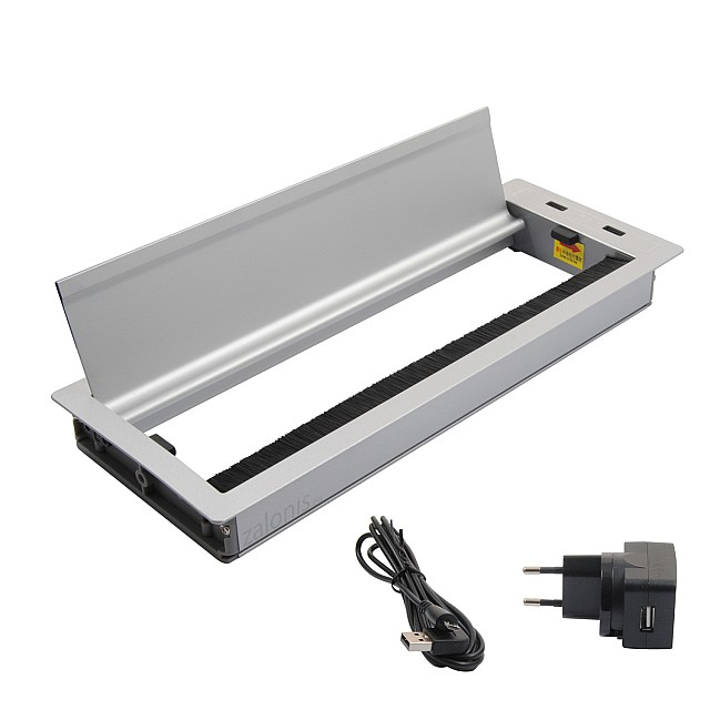 SQUARE DESK GROMMET 29.8x11.6 / 2 USB CHARGING PORTS / MAT ALUMINIUM