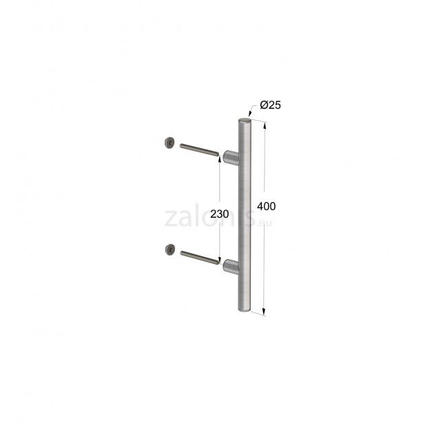 INOX PULL HANDLE FOR DOOR / MAT INOX / L400 - C230