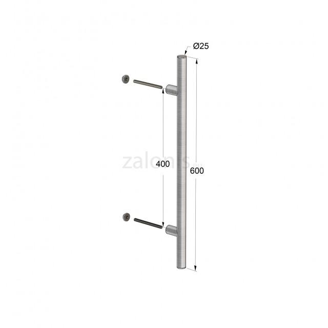INOX PULL HANDLE FOR DOOR / MAT INOX / L600 - C400