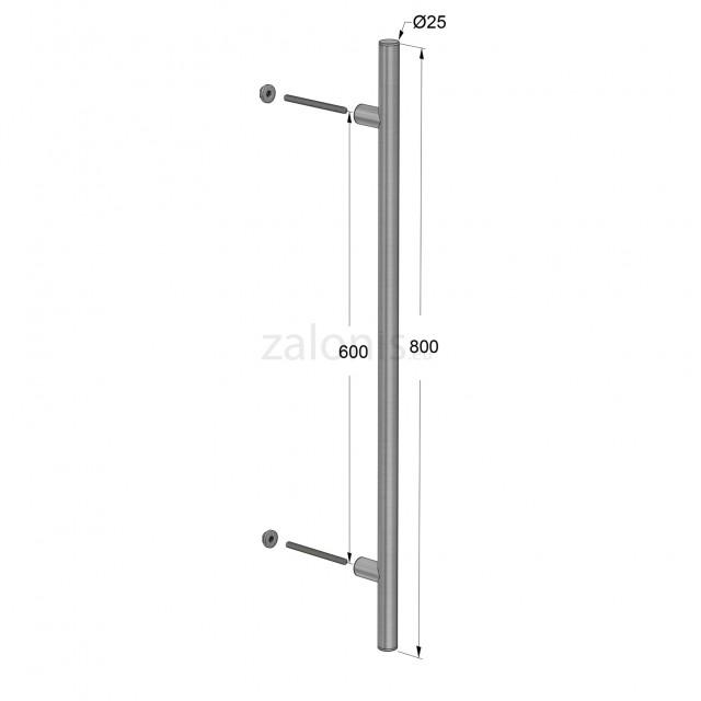 INOX PULL HANDLE FOR DOOR / MAT INOX / L800 - C600