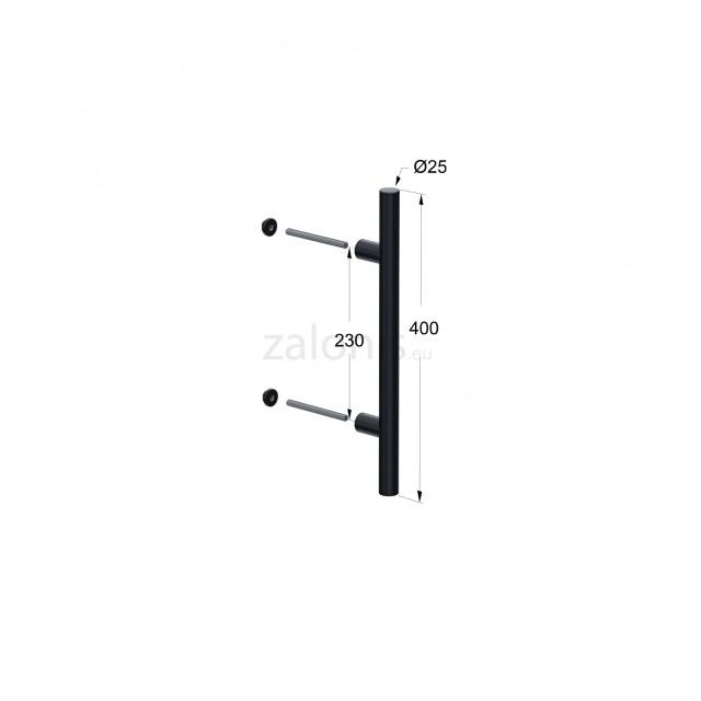 INOX PULL HANDLE FOR DOOR / MAT BLACK / L400 - C230