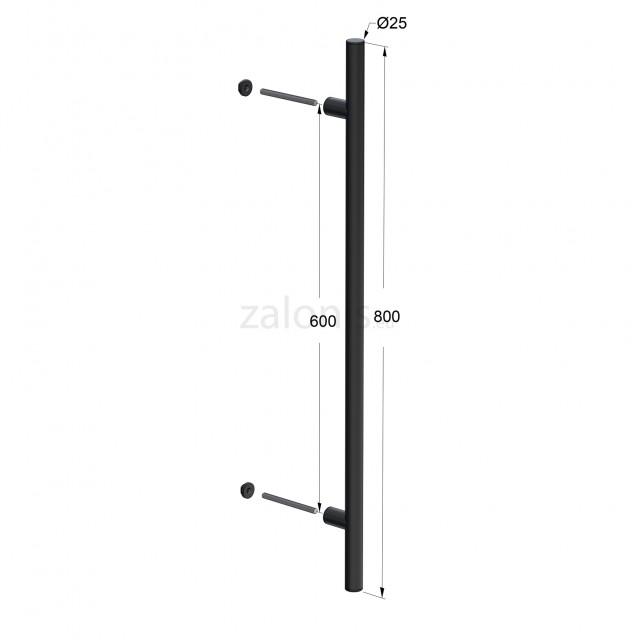 INOX PULL HANDLE FOR DOOR / MAT BLACK / L800 - C600