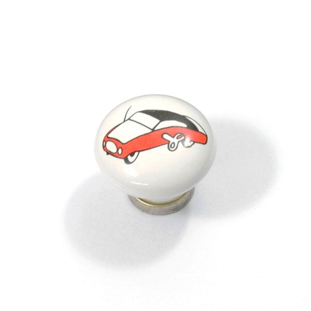 KID WHITE PORCELAIN CAR KNOB - ARGENTO BASE
