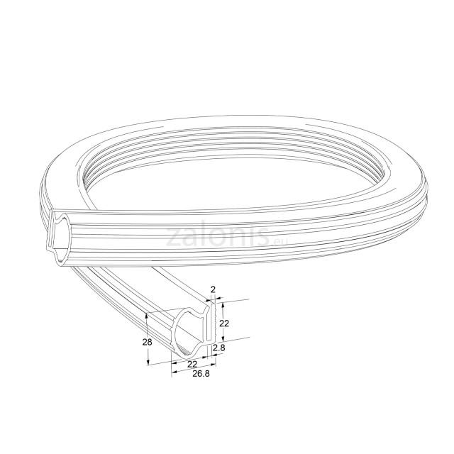 PLASTIC BACK PROFILE 22x28mm
